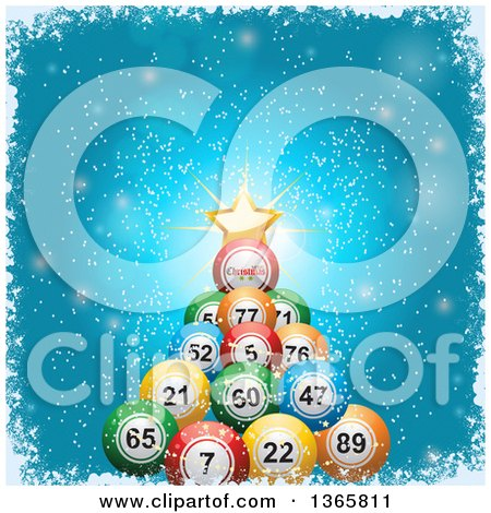 Clipart of a 3d Bingo or Lottery Ball Christmas Tree with a Star and Greeting over Blue, with Snow and a Grungy White Border - Royalty Free Vector Illustration by elaineitalia