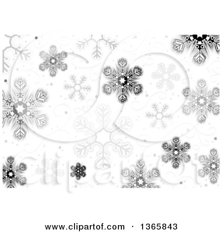 Clipart of a Christmas Background of Snowflakes and Swirls - Royalty Free Vector Illustration by dero