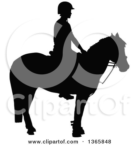 Clipart of a Black Sihouetted Girl Mounted on a Horse, Ready for Equestrian Games - Royalty Free Vector Illustration by Maria Bell