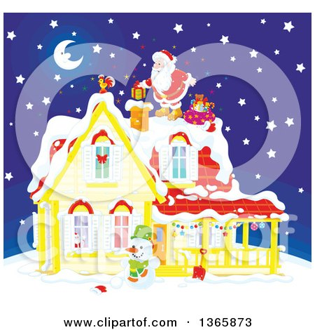 Clipart of Santa Claus on a Roof Top, Dropping a Gift down a Chimney on a Snowy Christmas Eve Night - Royalty Free Vector Illustration by Alex Bannykh