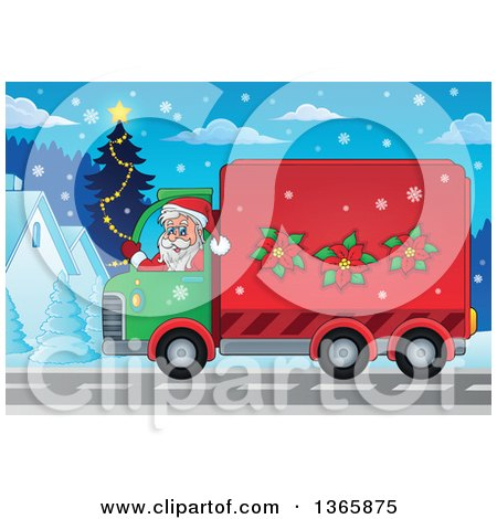Clipart of a Cartoon Santa Claus Driving a Delivery Truck on Christmas Eve - Royalty Free Vector Illustration by visekart