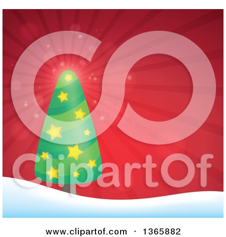 Clipart of a Christmas or Winter Background with a Tree on Snowy Hills over Red Rays - Royalty Free Vector Illustration by visekart
