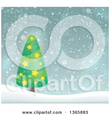 Clipart of a Christmas or Winter Background with a Tree on Snowy Hills - Royalty Free Vector Illustration by visekart