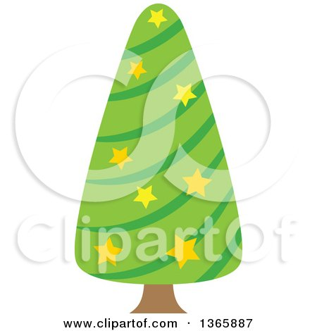 Clipart of a Christmas Tree with Stars - Royalty Free Vector Illustration by visekart