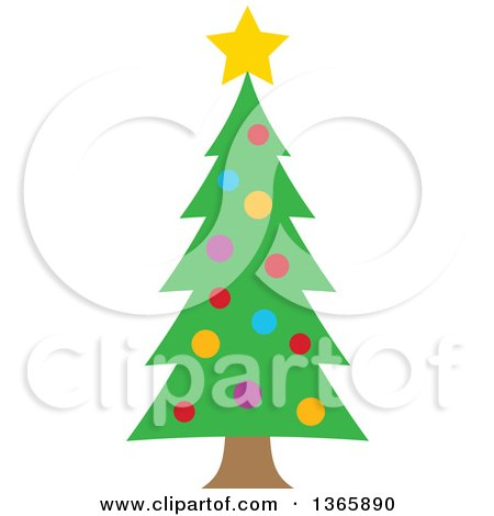 Clipart of a Christmas Tree with Colorful Baubles - Royalty Free Vector Illustration by visekart