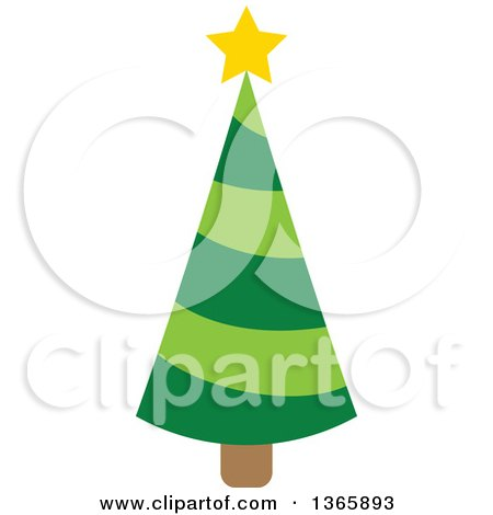 Clipart of a Christmas Tree with a Star - Royalty Free Vector Illustration by visekart