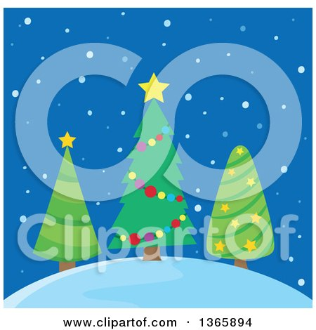 Clipart of Three Christmas Trees on a Hill in the Snow over Blue - Royalty Free Vector Illustration by visekart