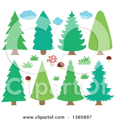Clipart of Conifer Evergreen Trees, Clouds, Mushrooms and Grass - Royalty Free Vector Illustration by visekart