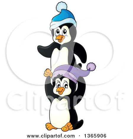 Clipart of Cute Christmas Penguins Wearing Winter Hats - Royalty Free Vector Illustration by visekart