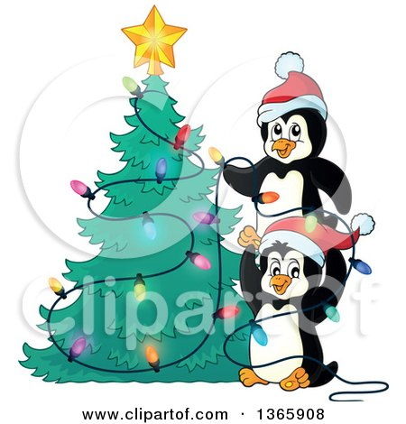 Clipart of Cute Penguins Putting Lights on a Christmas Tree - Royalty Free Vector Illustration by visekart