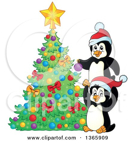 Clipart of Cute Christmas Penguins Decorating a Tree - Royalty Free Vector Illustration by visekart