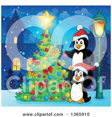 Clipart of Cute Christmas Penguins Decorating a Tree in a Village at Night - Royalty Free Vector Illustration by visekart