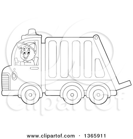Clipart of a Cartoon Black and White Man Driving a Garbage Truck - Royalty Free Vector Illustration by visekart