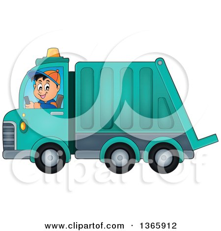 Clipart of a Cartoon Caucasian Man Driving a Garbage Truck - Royalty Free Vector Illustration by visekart