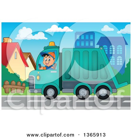 Clipart of a Cartoon Caucasian Man Driving a Garbage Truck in a Neighborhood - Royalty Free Vector Illustration by visekart