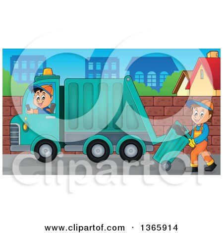 Clipart of a Cartoon Caucasian Man Driving a Garbage Truck and One Moving a Bin - Royalty Free Vector Illustration by visekart