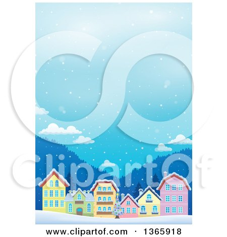 Clipart of a Winter Village in the Snow - Royalty Free Vector Illustration by visekart