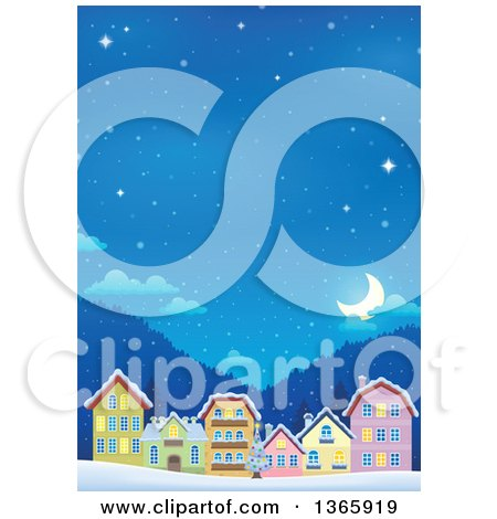 Clipart of a Winter Village on a Snowy Winter Night - Royalty Free Vector Illustration by visekart