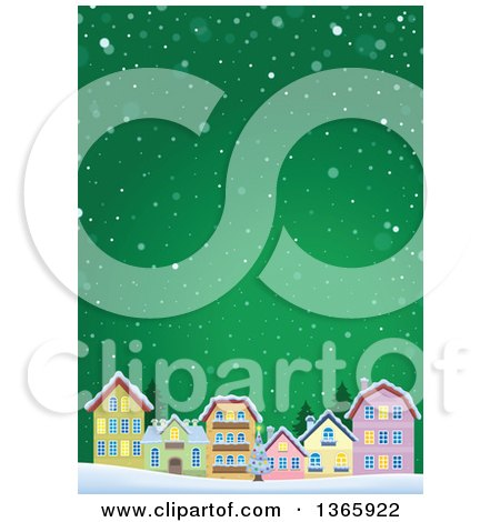 Clipart of a Winter Village in the Snow over Green - Royalty Free Vector Illustration by visekart