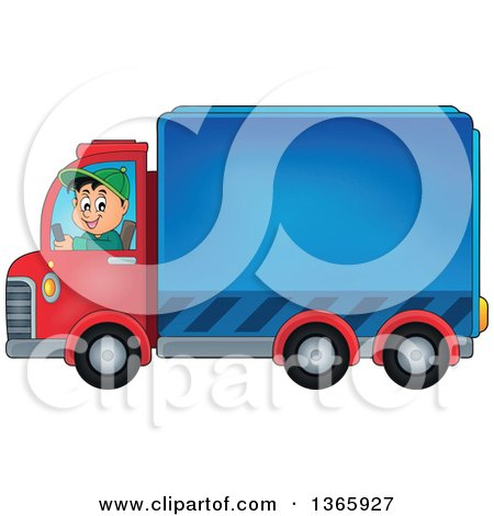 Clipart of a Cartoon Happy White Man Driving a Delivery Truck - Royalty Free Vector Illustration by visekart