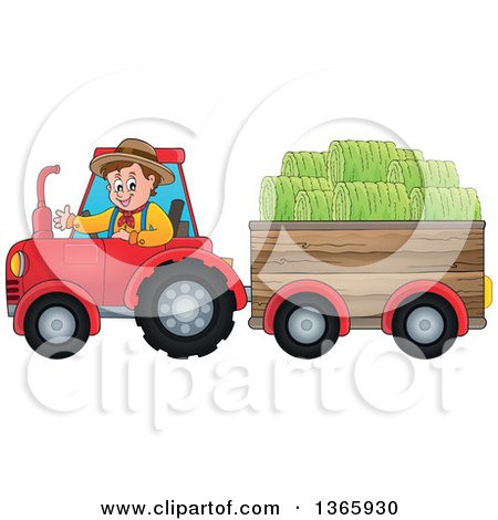 Clipart of a Cartoon White Male Farmer Driving a Tractor and Pulling Hay in a Cart - Royalty Free Vector Illustration by visekart
