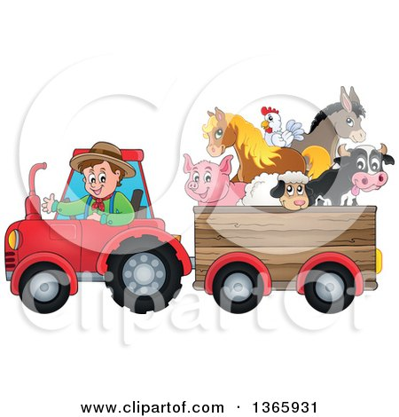 Clipart of a Cartoon White Male Farmer Driving a Tractor and Pulling Livestock Animals in a Cart - Royalty Free Vector Illustration by visekart