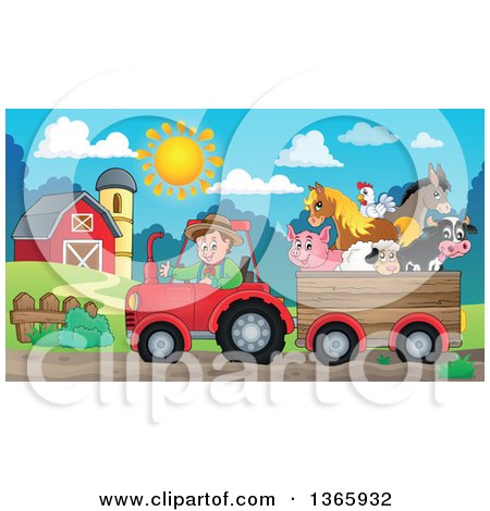 Clipart of a Cartoon White Male Farmer Driving a Tractor and Pulling Livestock Animals in a Cart near a Barn - Royalty Free Vector Illustration by visekart
