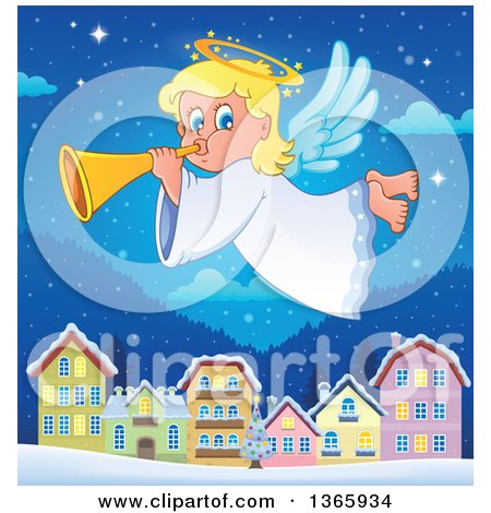 Clipart of a Happy Blond Female Christmas Angel Blowing a Horn and Flying over a Village at Night - Royalty Free Vector Illustration by visekart