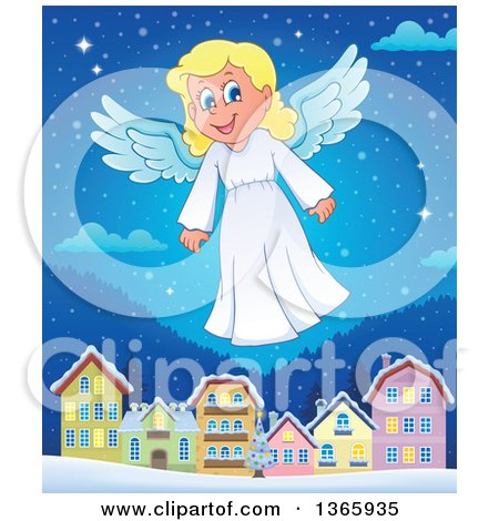 Clipart of a Happy Blond Female Christmas Angel Flying over a Village at Night - Royalty Free Vector Illustration by visekart