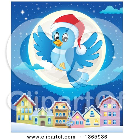 Clipart of a Cartoon Blue Bird Wearing a Santa Hat and Flying over a Full Moon and Village at Night - Royalty Free Vector Illustration by visekart