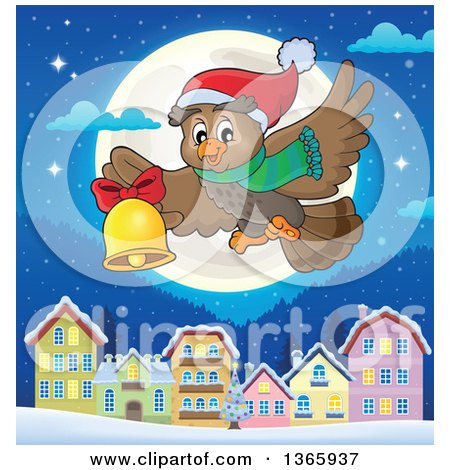 Clipart of a Cartoon Christmas Owl Wearing a Winter Scarf and Hat, Flying and Ringing a Bell Against a Full Moon and Village a Tnight - Royalty Free Vector Illustration by visekart