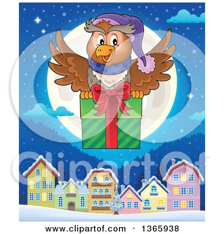Clipart of a Cartoon Festive Christmas Owl Flying with a Gift over a Full Moon and Village at Night - Royalty Free Vector Illustration by visekart