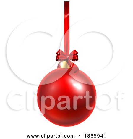 Clipart of a 3d Shiny Red Christmas Bauble Ornament Hanging from a Ribbon - Royalty Free Vector Illustration by AtStockIllustration