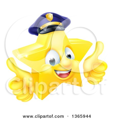 Clipart of a 3d Happy Golden Police Office Star Emoji Emoticon Character Wearing a Hat and Giving Two Thumbs up - Royalty Free Vector Illustration by AtStockIllustration