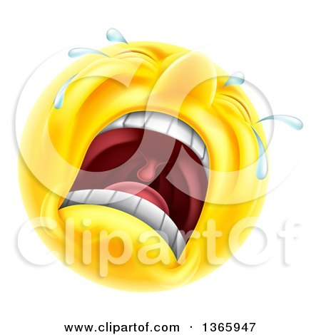 Clipart of a 3d Yellow Male Smiley Emoji Emoticon Face Crying - Royalty Free Vector Illustration by AtStockIllustration
