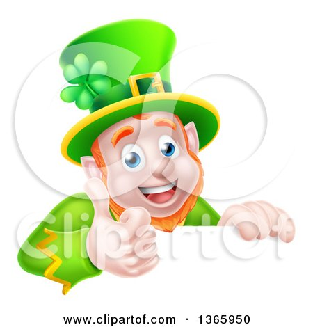 Clipart of a Cartoon Happy St Patricks Day Leprechaun Giving a Thumb up over a Sign - Royalty Free Vector Illustration by AtStockIllustration