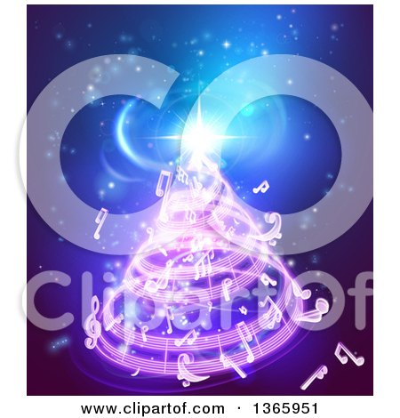Clipart of a Christmas Tree Formed of Music Notes on Blue - Royalty Free Vector Illustration by AtStockIllustration