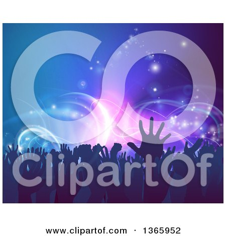 Clipart of a Crowd of Silhouetted Concert Goer Hands over Neon Lights on Blue - Royalty Free Vector Illustration by AtStockIllustration