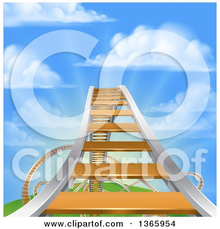 Clipart of a Roller Coaster Track Leading up to the High Point, Against a Blue Sky with Puffy Clouds and Sun Rays - Royalty Free Vector Illustration by AtStockIllustration