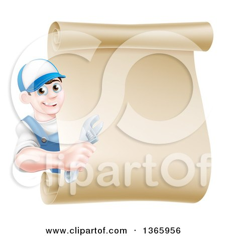 Clipart of a Happy Brunette Young Caucasian Mechanic Man in Blue, Holding an Adjustable Wrench and Looking Around a Blank Scroll Sign - Royalty Free Vector Illustration by AtStockIllustration
