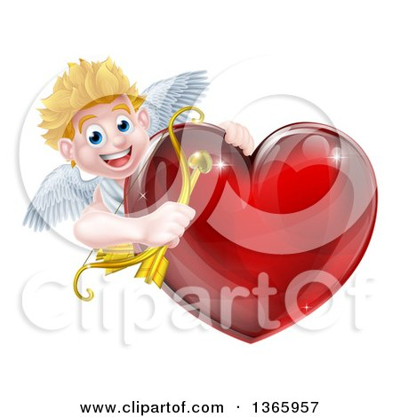 Clipart of a Happy Blond Caucasian Valentines Day Cupid Holding a Bow and Arrow Around a Shiny Red Heart - Royalty Free Vector Illustration by AtStockIllustration