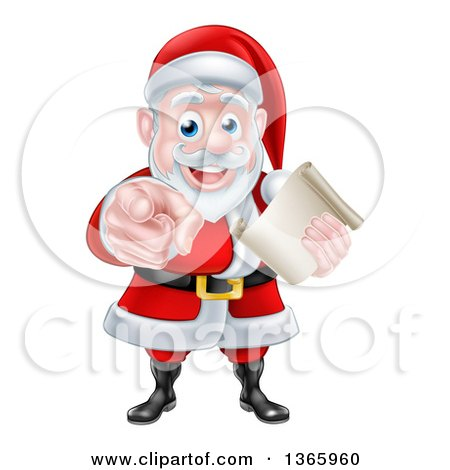 Clipart of a Christmas Santa Claus Holding a List and Pointing at You - Royalty Free Vector Illustration by AtStockIllustration