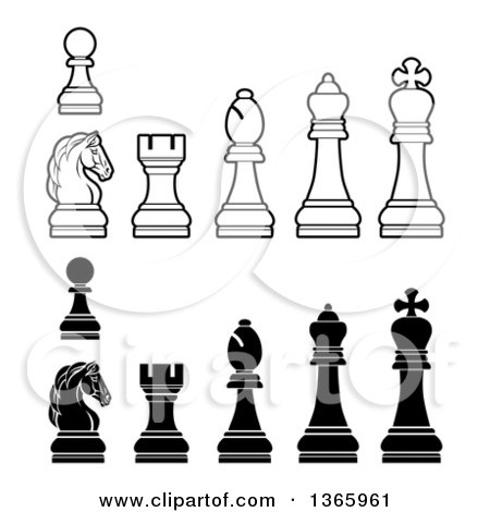 Clipart of White and Black Chess Pieces - Royalty Free Vector Illustration by AtStockIllustration