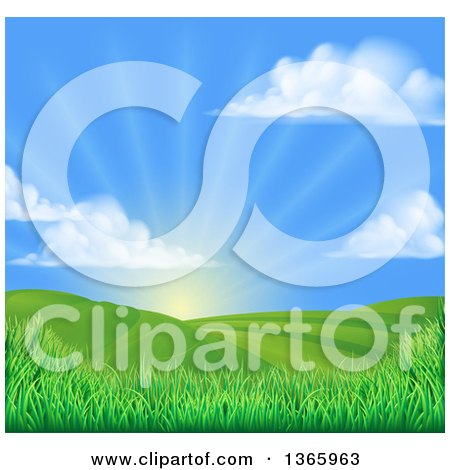 Clipart Of A Morning Sunrise Over A Green Hilly Landscape With Puffy Clouds And Grasses Royalty Free Vector Illustration