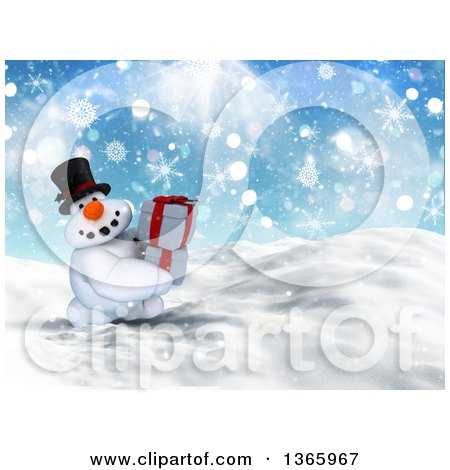 Clipart of a 3d Snowman Character Carrying Gifts in the Snow - Royalty Free Illustration by KJ Pargeter