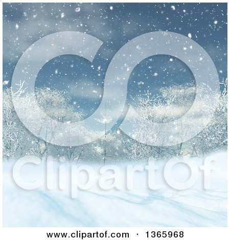 Clipart of a 3d Winter Landscape of Trees and Snow - Royalty Free Illustration by KJ Pargeter