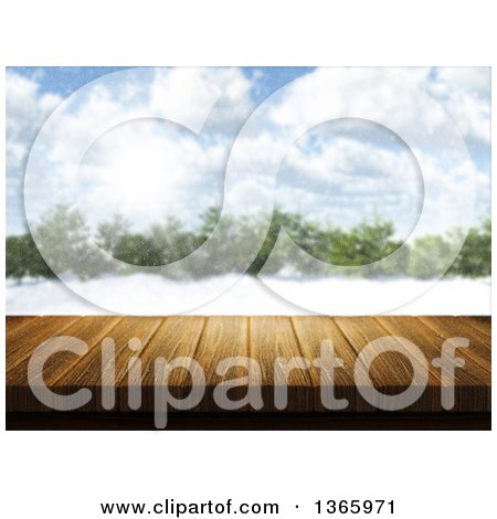 Clipart of a 3d Wooden Deck or Table with a Blurred View of a Forest in the Winter - Royalty Free Illustration by KJ Pargeter