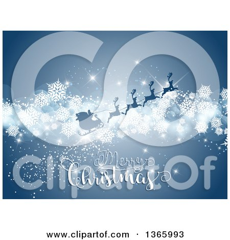 Clipart of a Merry Christmas Greeting with Santas Silhouetted Sleigh Flying over Blue with Snowflakes - Royalty Free Vector Illustration by KJ Pargeter