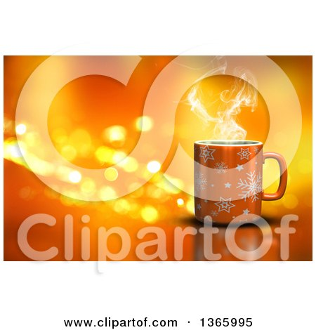 Clipart of a 3d Hot Cup of Coffee over Orange with Flares - Royalty Free Illustration by KJ Pargeter