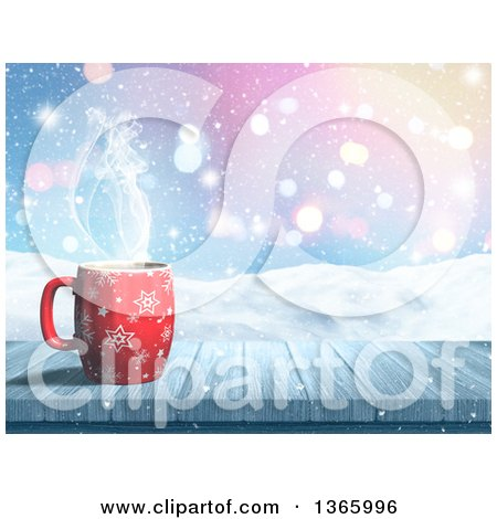 Clipart of a 3d Hot Cup of Coffee on a Wood Table over a Snowy Landscape - Royalty Free Illustration by KJ Pargeter